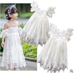 Childrens wedding dresses wholesale online shopping - Baby Girl Designer Clothes Off Shoulder Lace Dresses Summer Sleeveless Lace Dress Infant Toddler Party Wedding Dress Childrens Dress