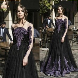 Gorgeous Long Lace Black Dress Australia - Gorgeous Black And Purple Lace Appliqued Prom Dresses 2019 Illusion Long Sleeves Tulle Evening Gowns Floor Length Formal Wear 573
