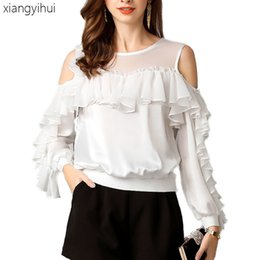 $enCountryForm.capitalKeyWord NZ - Casual Ruffle Chiffon Tops and Blouses Women's Off the Shoulder Long Sleeve Office Shirts Round Neck Summer Shirt Blouse 2019