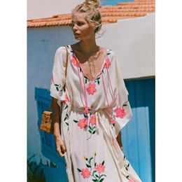 826eef4664ab Summer Women Oversized Ethnic Floral Embroidery Hippie Boho People Batwing sleeves  Maxi Robe Long dress Vestido Feminine