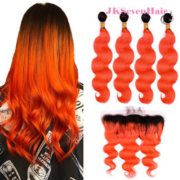 $enCountryForm.capitalKeyWord Australia - Body Wave 1B Orange Brazilian Virgin Hair Bundles 4pcs With 13x4 Inch Lace Frontal Two Tone Orange Peruvian Indian Hair Wefts With Frontal