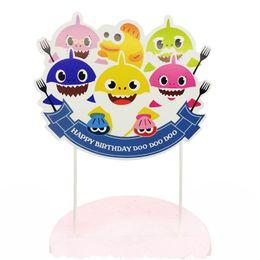 $enCountryForm.capitalKeyWord Australia - Baby Shark Cake Flag Toothpicks Flags Cartoon Cupcake Inserts Card Decor Kids Adult Birthday Party Supplies FA2124