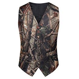 Japan style vest online shopping - 2019 Fashion Camo Vest tweed vest For Prom Groom Vests Wedding Vests Realtree Spring Camouflage Slim Fit Mens Vests