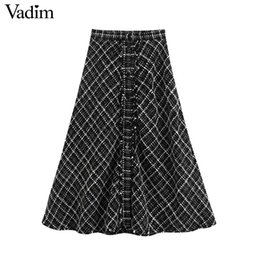 plaid skirt xs Australia - Vadim women chic tweed plaid midi skirt buttons tassels patchwork A line checkered office wear mid calf skirts BA909