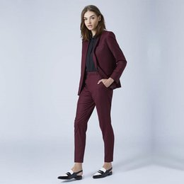 Burgundy Red Mulheres Slim Fit Formal Negócios Office Lady ternos fêmea elegante 2 Pieces Custom Made calças de uniforme ternos Set