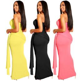 $enCountryForm.capitalKeyWord Canada - Designer maxi dress women strapless long skirts sashes sleeveless beachwear beach dresses women Spring Summer clothing S-XL