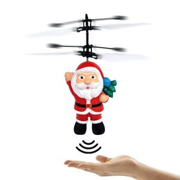 Flashing Helicopter Toy UK - Electric Infrared Sensor Flying Santa Claus LED Flashing Light Toys Father Christmas Inductive Aircraft Helicopter Kids Magic Christmas Gift