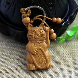 $enCountryForm.capitalKeyWord Australia - Exotic Wood Carving Lucky Cat Keychain Pendant Hanging Bag Pouch Ornament Gift hot top