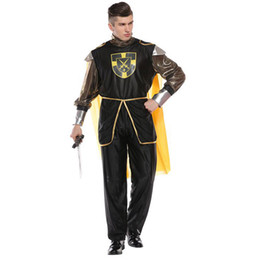 warrior costume men Australia - Adult Men Renaissance Knight Warrior Costume Royal King Costumes Yellow Cape Halloween Purim Party Carnival Cosplay Outfit
