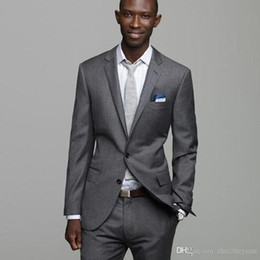 $enCountryForm.capitalKeyWord Australia - Custom Made Gray Mens Suits For Wedding Slim Fit Fashion Best Man Party Prom Suit Cheap Wedding Tuxedos (jacket+pant)