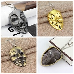 Discount face jewelry mask - Jewelry V For Vendetta Mask Necklace Men Jewelry Beautifully Charm Pendant Necklace Cuban Link Chain Metal Jewelry Mens