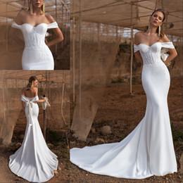 $enCountryForm.capitalKeyWord Australia - Modest Mermaid Wedding Dress Off The Shoulder 2020 Satin Beadings Beach Bride Wedding Gowns Bow Sash Backless Vestido De Noiva