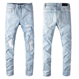 High quality Mens jeans Distressed Motorcycle biker jeans Rock Skinny Slim Ripped hole Knee zipper Famous Brand Denim pants jeans