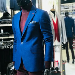 Blue Tweed Suits Australia - Royal Blue Tweed Wedding Tuxedos One Button Slim Fit Fashion Groom Wear Formal Blazer Jacket Suit Only One Piece