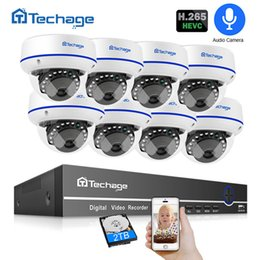 kit camera dome UK - Surveillance System Techage H.265 8CH 1080 CCTV Security System 2.0MP POE NVR Kit Audio Dome Indoor POE IP Camera P2P ONVIF Video