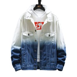 Tie dye jeans blue online shopping - Man Autumn tie dyed jean jacket gradient color denim jacket loose leisure tooling jeans