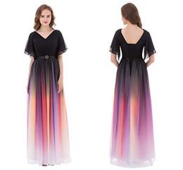 0445ef8789 Imagen real 2019 gradiente de color de gasa vestidos de baile con cuello en  v manga del cabo una línea de encaje hasta la ocasión formal vestidos de  noche ...