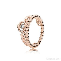 Pandora Gold 18k Australia - Women's Fashion 18K Rose Gold Princess crown Ring Set Original Box for Pandora Real 925 Silver CZ Diamond Wedding Ring