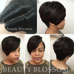 hair cuts for black women NZ - Human Hairstyle for Black Women, Short Pixie Cuts Hair wigs , and Short Pixie Cuts with Highlights Side part little lace front wigs