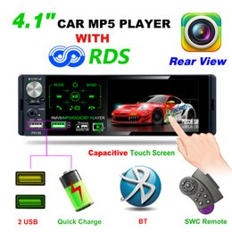 "tft player Australia - P5130 2019 New Arrival 4.1"" TFT LCD HD 1080P 4*50W ISO Bluetooth RMVB AVI Media Player Subwoofer AM FM Radio RDS MP3 MP4 MP5 USB car dvd"