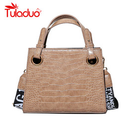 Tuladuo Brand Handbags Women Luxury Alligator Design Crossbody Shoulder  Bags Ladies Letter Printing Wide Strap Soft Leather Bags d5d11e62228a5