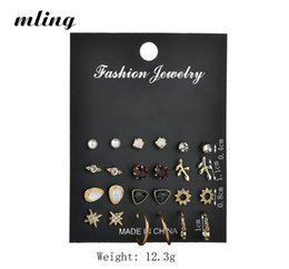 unique pearl jewelry sets 2019 - 12 Pairs   Set Of Unique Design Retro Small Earrings Set For Female Punk Alloy Stars Leaf Earrings Gold Jewelry Pearls c