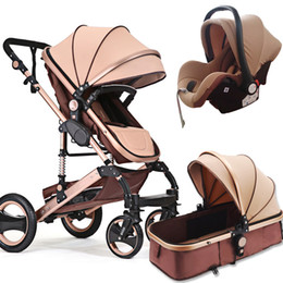 Discount baby seat trolley - 3 in 1 baby stroller high view with safety car seat Carriage Two-way Newborn trolley Light 2 in 1 stroller free shipping