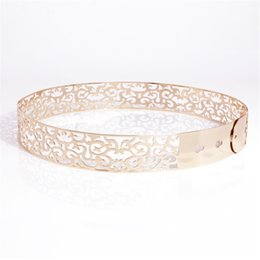 Band Clothes For Australia - New Fashion Women's Hollow Out Metal Waist Belt Metallic Gold Wide Band waistband for summer Clothing Accessories BL45