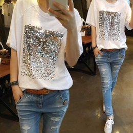 Wholesale Summer Sequins Bamboo Cotton White T shirt Female Short Sleeved Fitness Version Loose Plus Size Fashion Casual Couple T Shirt