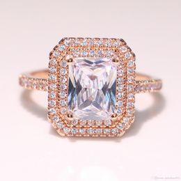 Gemstones diamond online shopping - Nlm99New Arrival Sparkling Luxury Jewelry Sterling Silver Rose Gold Fill Princess Cut Topaz CZ Diamond Gemstones Wedding Band Ring Gift