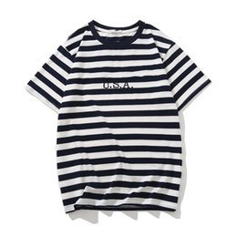 mens short jeans NZ - Fashion-Jeans USA Mens Striped T shirts Summer Fashion Embroidery Designer Tees Short Sleeved Tops Clothes