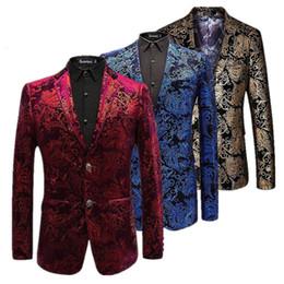c0b508d6228 Velvet Silver Blazer Men Paisley Floral Jackets Wine Red Golden Stage Suit  Jacket Elegant Wedding Mens Blazer Plus Size M-6XL