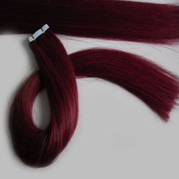 Discount red remy human hair - grade 7a unprocessed Peruvian straight hair #99J Red Wine Tape in human hair extensions PU skin weft tape in remy hair e