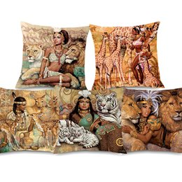 $enCountryForm.capitalKeyWord NZ - African Girl Painting Peace African Cushion Covers Giraffe Lion Linen Cotton Pillow Case 45X45cm Bedroom Sofa Decor