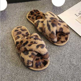 female home slippers Australia - Puimentiua Winter Warm Women Slippers Home Faux Fur Fluffy Female Flip Flops Furry Leopard Print Indoor Ladies Shoes Nice