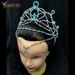 Fatto a mano La Bayadere Balletto Copricapo Corona Le Corsaire Balletto Tiara Blu Concorso Performance Headwear Custom Made