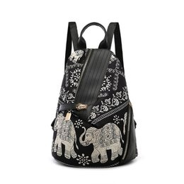 China Fashion Women Elephant-Print Shoulder Bag Backpack Colored Print Travel Rucksack Nylon Hand Bag Girls Daypack For School Journey cheap girls elephant backpacks suppliers