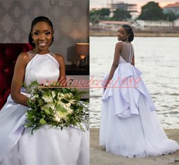 sky blue brown nigerian wedding dresses Canada - Elegance Crew Neck White Wedding Dresses Nigerian African Plus Size Bridal Gown robe de mariée Mariage Peplum Bride Ball A-Line Sleeveless