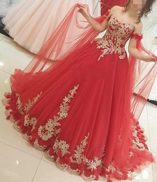 Dark Red Coral Beads NZ - Vintage Coral Red Ball Gown Wedding Dresses With Gold Lace Applique Off The Shoulder Sweetheart Hand Made Flowers Beaded Pearls Bridal Gowns