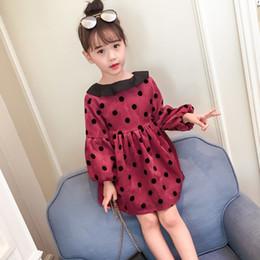 505990644c5e6 Red Dot Clothing NZ - Girls winter princess dresses kids dot velvet thick dress  baby red