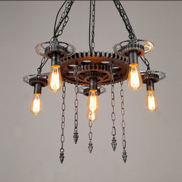 Gears Machinery Australia - Loft style retro industrial machinery gears personalized restaurant bar cafe decorative wrought iron pendant lamp EMS FREE SHIPPING