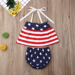 Girls Tassel Shirt Australia - Independence Day Designer Baby Girls Star Stripe Suits for USA The Fourth of July Kids National Day Wear Kids Special Occasion Clothes