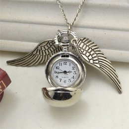 $enCountryForm.capitalKeyWord Australia - New Harry Golden Snitch Pocket Watch Antique Bronze Wing Ball Pendant Necklace Chains Potter Fashion Jewelry Fans Gift