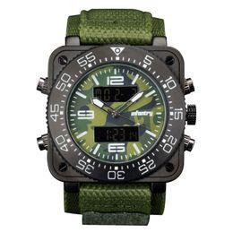$enCountryForm.capitalKeyWord UK - INFANTRY Big Face Mens Military Square Case Dual Time Tactical Digital Analog Heavy Duty Green Nylon Strap Wrist Watch
