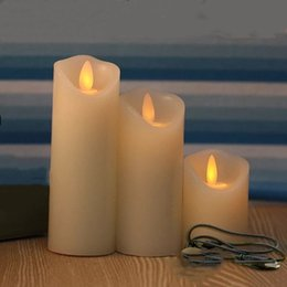 moving flameless candles Australia - set of 3 USB powered Rechargeable led pillar paraffin candle wavy edge moving wick Wedding Xmas Party bar decor 10CM-12.5CM-15CM T200108