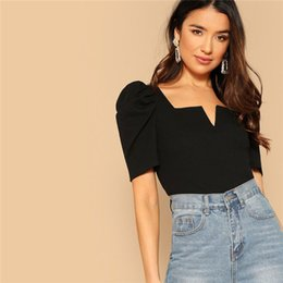 $enCountryForm.capitalKeyWord Australia - Zwarte Dames V-cut Voor Bladerdeeg Mouw T-shirt 2019 Zomer Vrouwen Elegant Streetwear Vierkante Kraag Slim Fit Tees