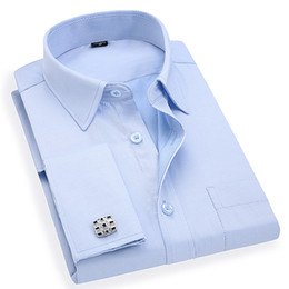 $enCountryForm.capitalKeyWord Australia - Men 's French Cufflinks Business Dress Shirts Long Sleeves White Blue Twill Asian Size M, L, XL, XXL, 3XL, 4XL, 5XL, 6XL