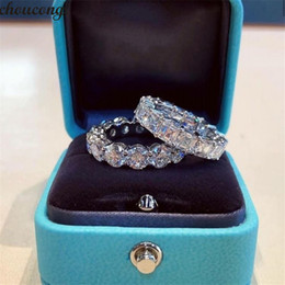Top Selling Aldrig Fade Sparkling Luxury Smycken 925 Sterling Silver Princess Cut White Topaz CZ Diamond Promise Wedding Bridal Ring Gift