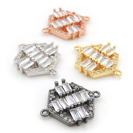 $enCountryForm.capitalKeyWord Australia - 17*15*3mm Micro Pave Clear CZ Hexagon Charms Connectors Fit For Men And Women Making Bracelets Jewelry