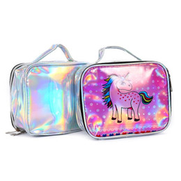 Chinese  Laser Handbag Women's Makeup Bag Unicorn Cute Cosmetic Cases Holographic Beauty Toiletry Bag Student Cartoon Storage Bag Travel Neceser manufacturers